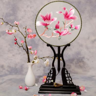 四款双面绣花中国风团扇,古风