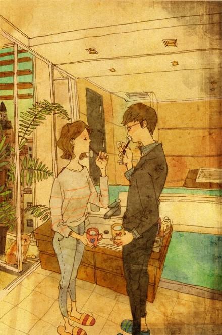 一组好看的治愈系情侣生活插画图片