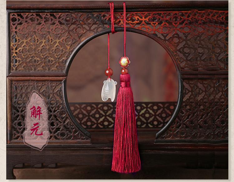 古典流苏解元书签,蝉韵柔美红色书签饰品