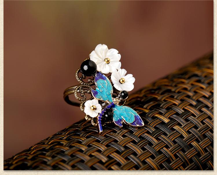古典蜻蜓别致戒指,康桥蓝湾戒指首饰