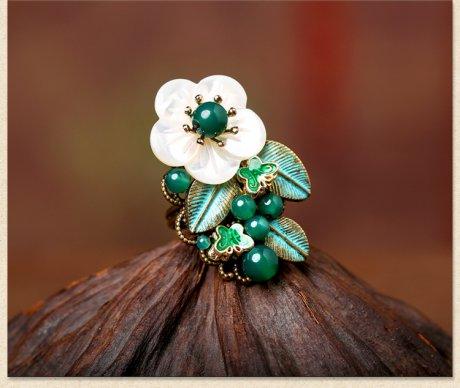 岸边芦花戒指,清新绿色戒指首