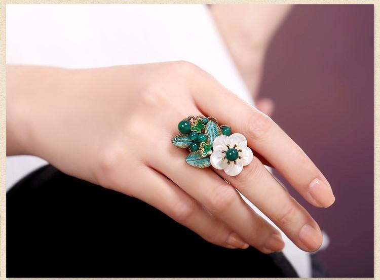岸边芦花戒指,清新绿色戒指首饰