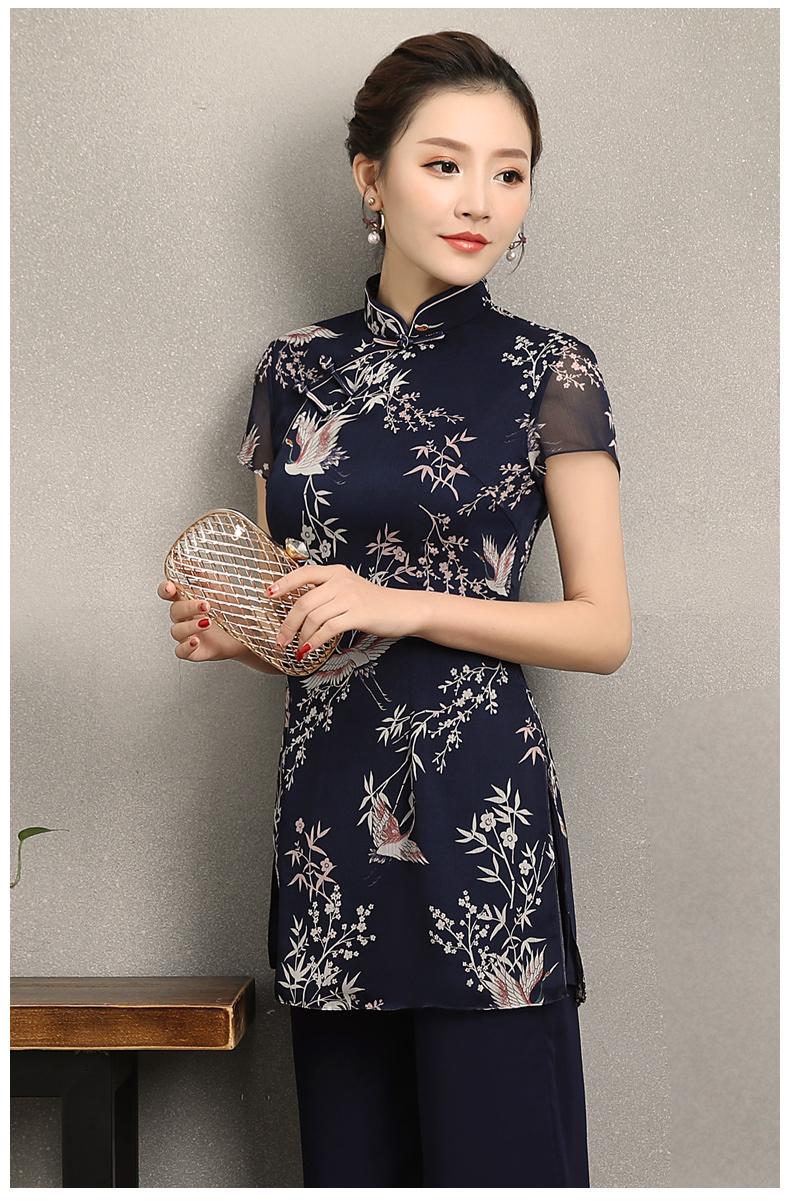 祥鹤印花中式旗袍,唐风茶服旗袍上衣图片