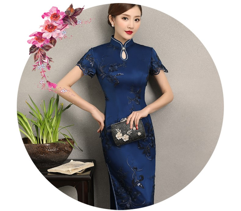 兰芸蕾丝绣花旗袍,优雅知性短袖旗袍图片