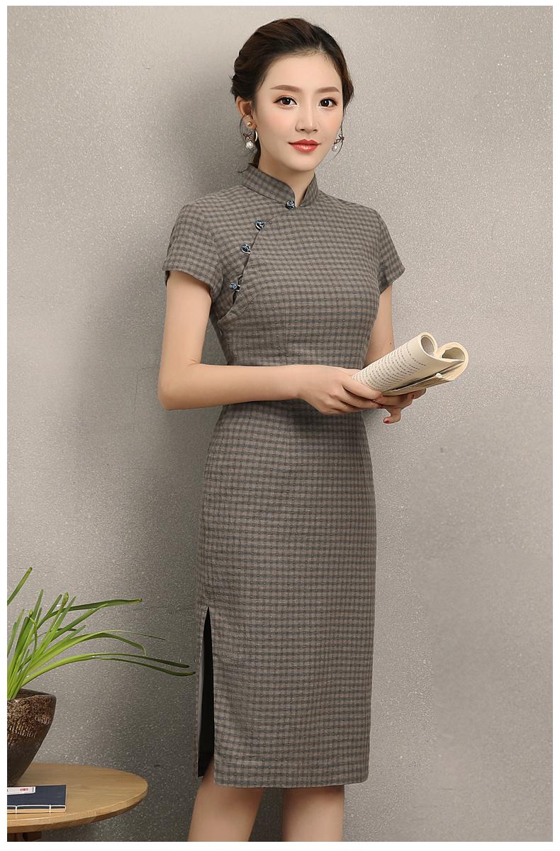 民国风复古格子旗袍,改良棉麻短袖旗袍图片