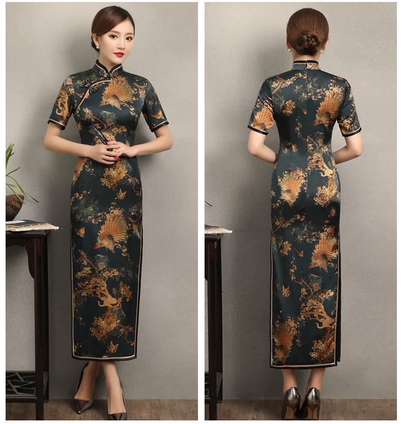 墨绿印花复古短袖旗袍,优雅浪漫旗袍图片