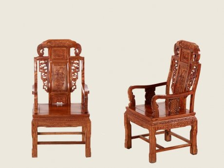 中式仿古花梨木雕花太师椅