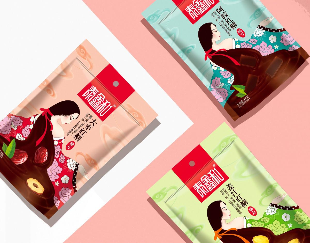 古风美人红糖食品包装设计:甜蜜在心中宠爱