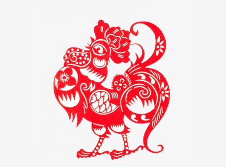 六款新春鸡年剪纸图案:金鸡报