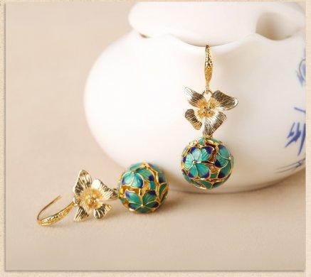 民族古风景泰蓝耳环,超仙花朵