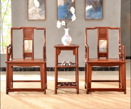 大理石南官帽椅,中式实木云石