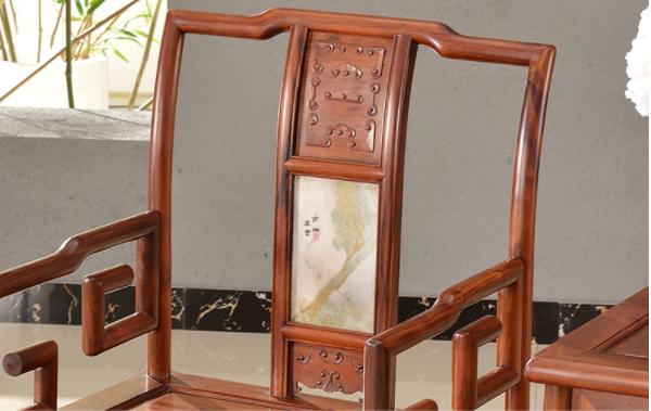 大理石南官帽椅,中式实木云石椅子