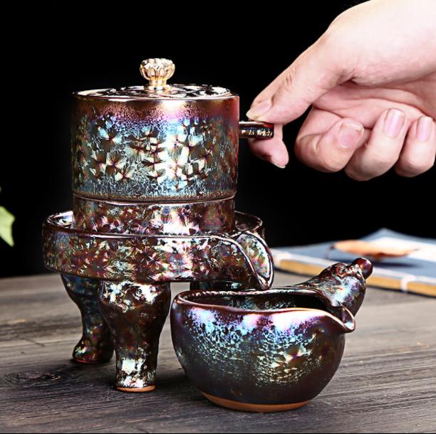 鎏金半自动茶具,中式石磨功夫茶具