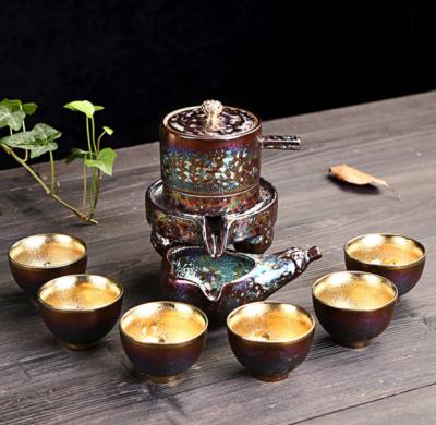鎏金半自动茶具,中式石磨功夫