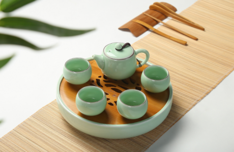 一盏清禅青瓷茶盘,陶瓷手绘荷