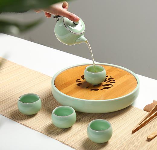 一盏清禅青瓷茶盘,陶瓷手绘荷花茶具