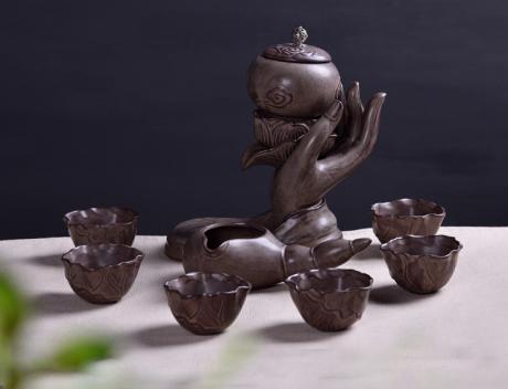 原创陶瓷泡茶自动茶具,佛手莲