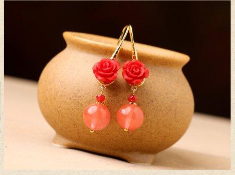鲜红玫瑰花耳环,精致古风气质