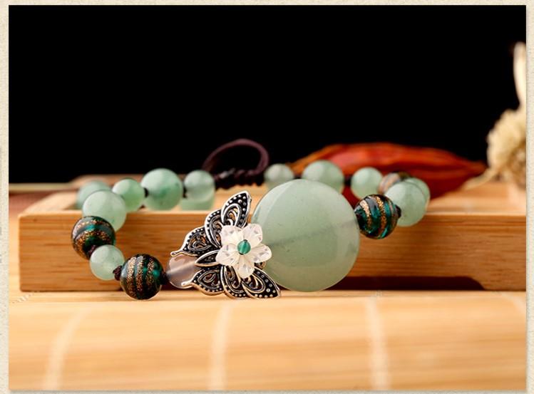 绿色森系手链,简约个性蝴蝶手串饰品