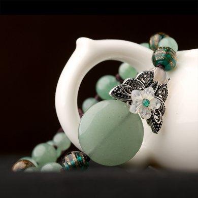 绿色森系手链,简约个性蝴蝶手