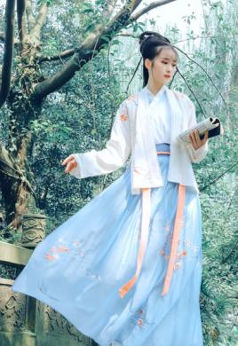 传统汉服褙子褶裙,宋制绣花枫