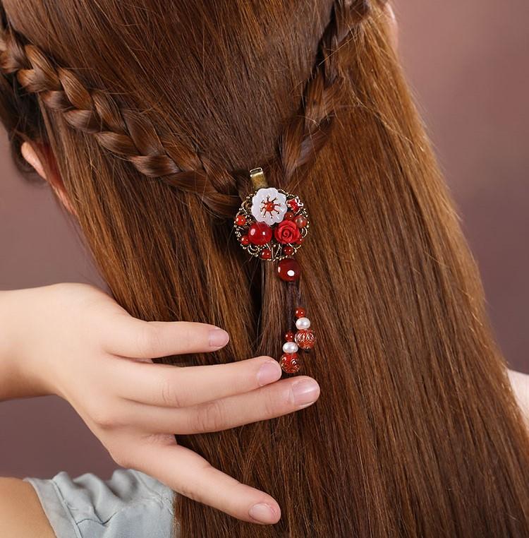 半天朱霞发夹:娇艳红色古风发夹头饰