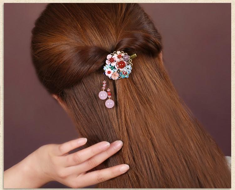 繁花漫天发夹:清新粉色古风发夹头饰
