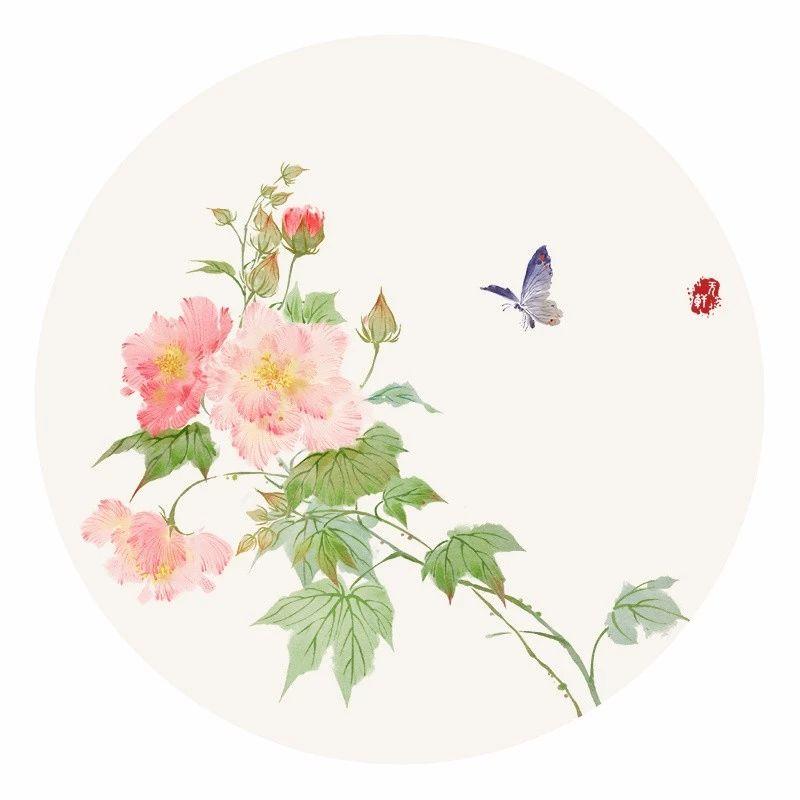 清新古风花卉插画,清雅如诗的插画图片