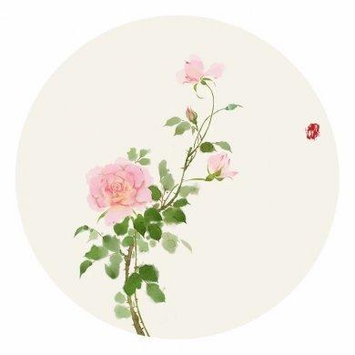 清新古风花卉插画,清雅如诗的