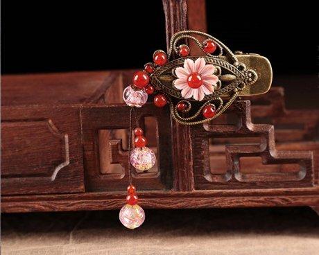 红粉佳人发夹,典雅中国风发饰