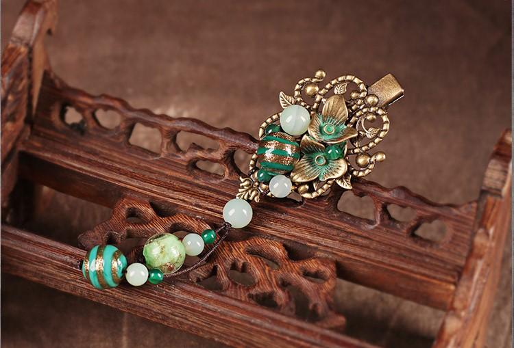 复古风青曼发夹,优雅中国风发饰头饰