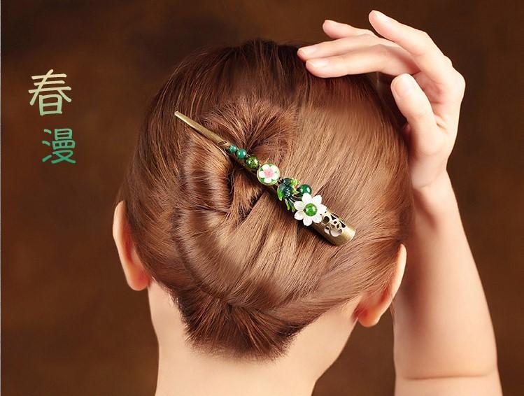 春意盎然发夹,古典盘发大发夹头饰