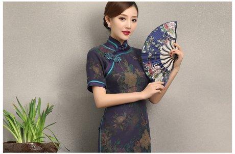 紫韵真丝香云纱旗袍,复古改良