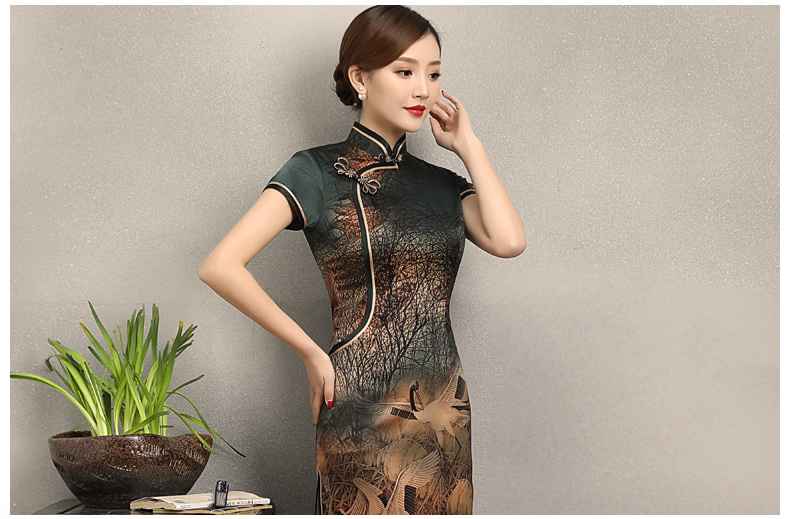 中国风仙鹤飞舞旗袍,优雅古典修身旗袍裙