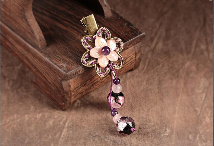 紫伊美人发夹:贝壳花小清新古风发夹头饰