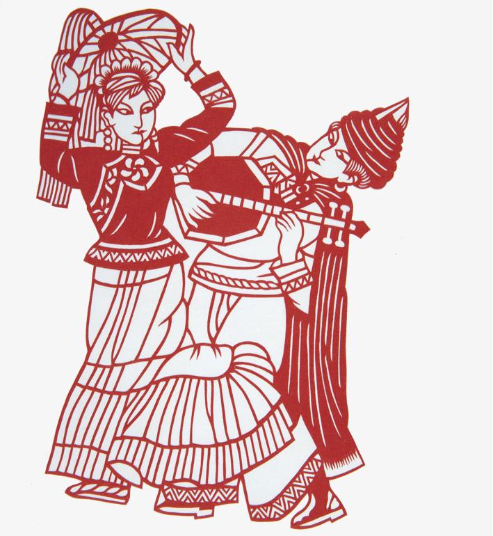十款民族风情人物剪纸:浓浓的民族风情韵味