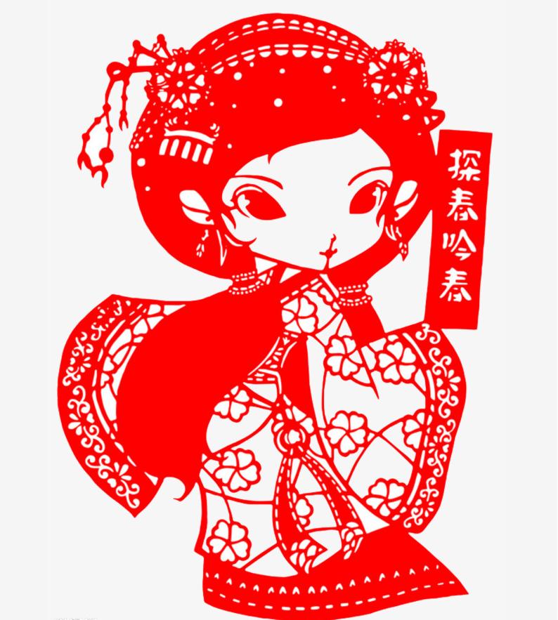 九款红楼梦人物Q版剪纸:别有风味的红楼风情