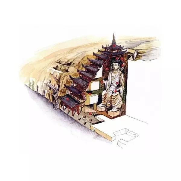 穿墙透壁,手绘中国古代经典古建筑