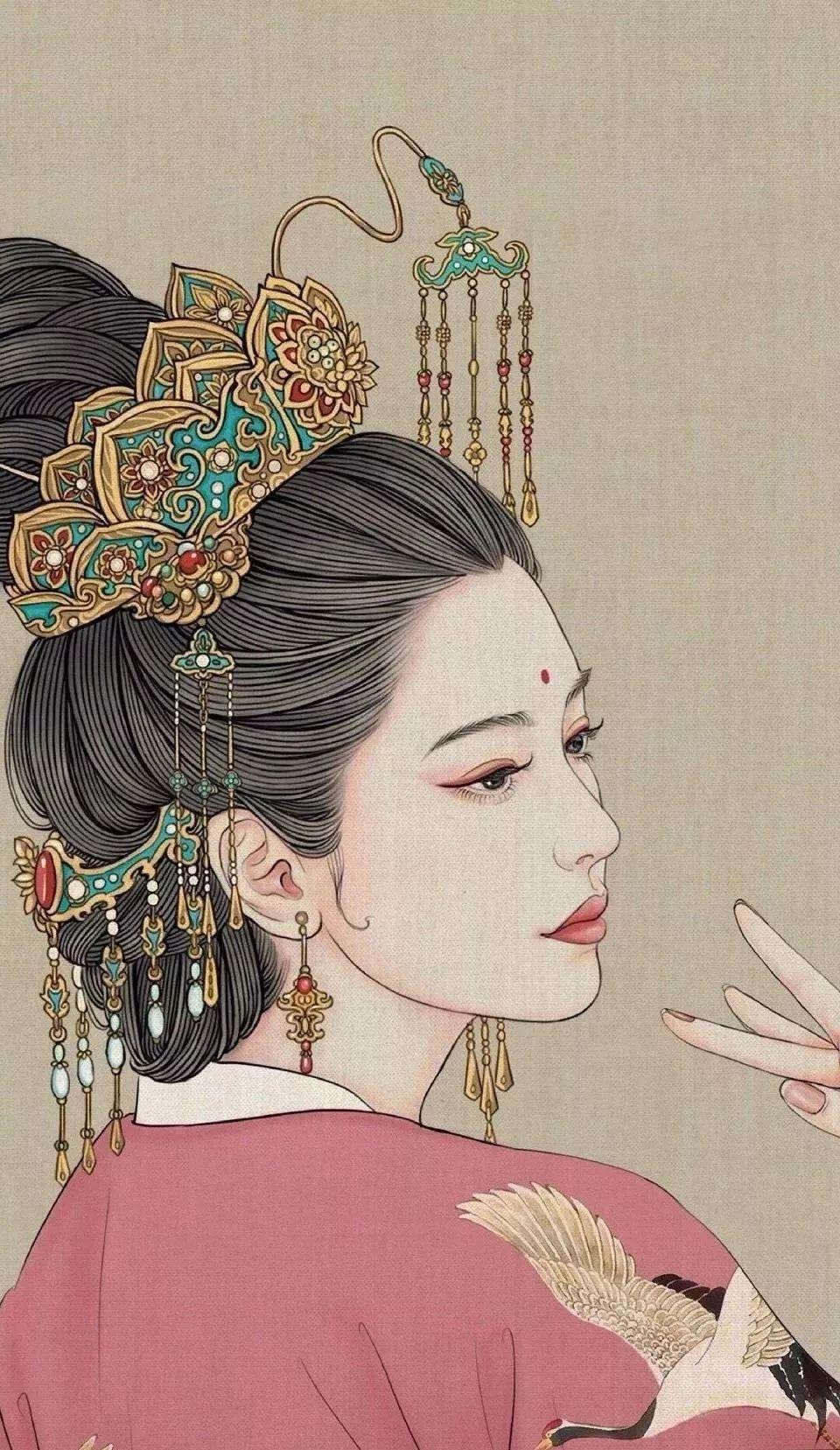 惊艳手绘插画:古风线条画出女子极致的美