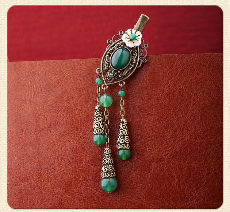 古风古典流苏发夹,翠绿民族风头饰