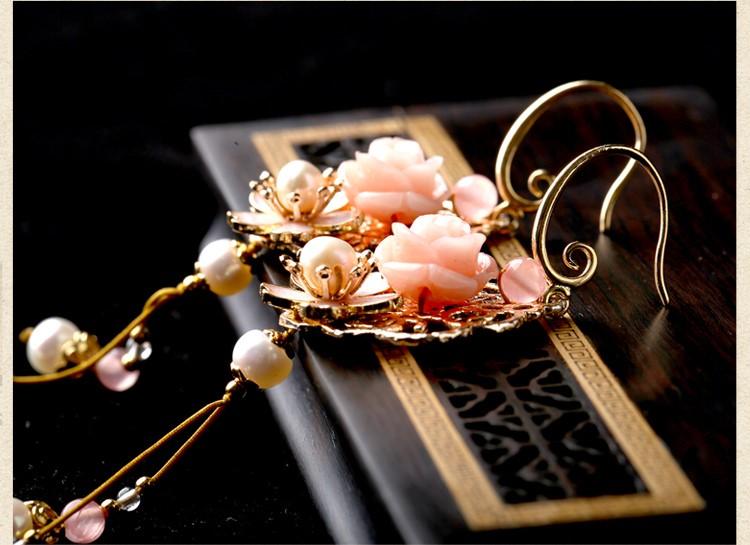 古风唯美花朵耳坠耳环,气质超仙少女粉耳环