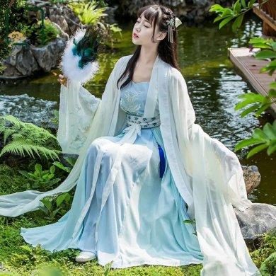 古风淡蓝仙女汉服,清新