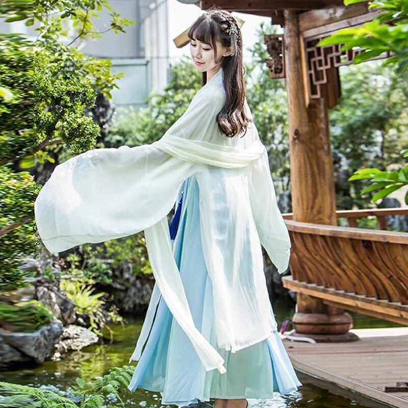 古风淡蓝仙女汉服,清新淡雅襦裙汉服图片