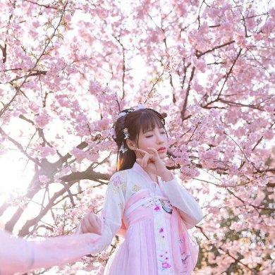 传统华夏粉色汉服,汉元素清新