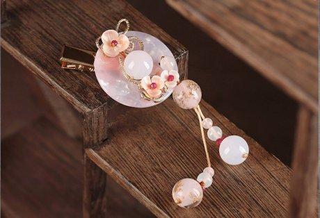 诗雅平安扣发夹,粉色浪漫桃花