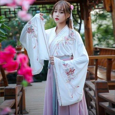 交领襦裙汉服,粉红清新淡雅汉