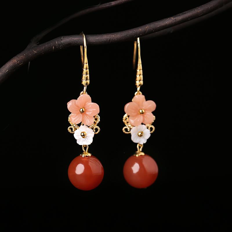 复古红玛瑙吊坠耳环,超仙花朵耳饰首饰