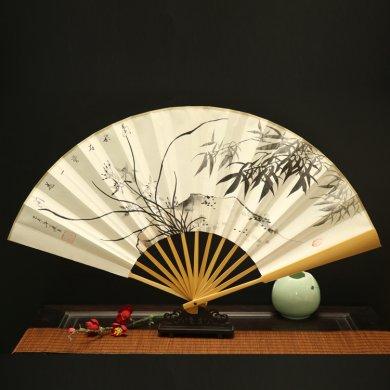 玉竹手绘折扇:古风水墨男士扇