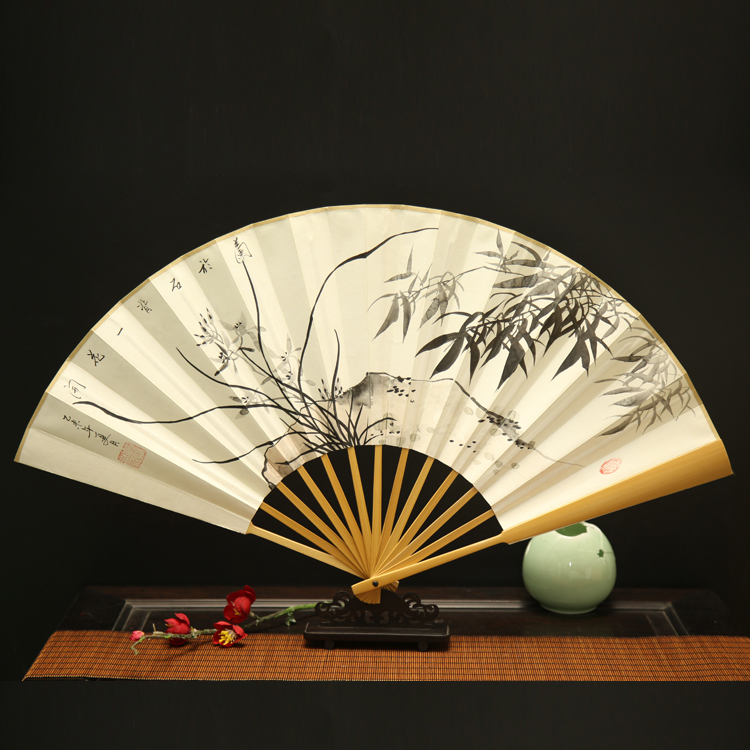 玉竹手绘折扇:古风水墨男士扇子