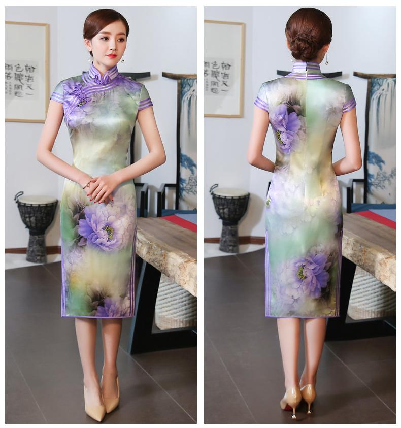高贵紫清旗袍,唯美娇艳旗袍裙